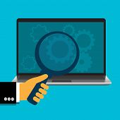 picture of byte  - vector illustration of hand holding magnify and laptop with gears - JPG