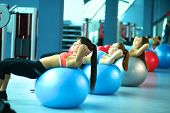 image of pilates  - Group of people in a Pilates class at the gym  - JPG