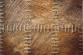 foto of wigwams  - close up coconut fiber texture sewed with thick threads - JPG