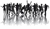 stock photo of exaltation  - silhouettes of people dancing modern dances on a white background - JPG