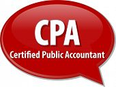 picture of cpa  - word speech bubble illustration of business acronym term CPA Certified Public Accountant - JPG