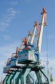 stock photo of crimea  - Some of the cranes in Kerch port in Crimea - JPG