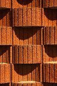 stock photo of planters  - Concrete planter blocks as retaining wall - JPG