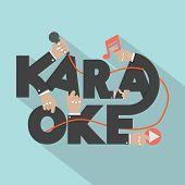 image of karaoke  - Microphone Hand With Karaoke Typography Design Vector Illustration - JPG