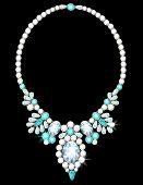 image of aquamarine  - Elegant necklace with flowers from diamonds and aquamarines - JPG