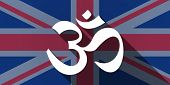 stock photo of om  - Illustration of an UK flag icon with an om sign - JPG