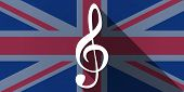 stock photo of g clef  - Illustration of an UK flag icon with a g clef - JPG