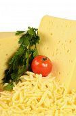 stock photo of shredded cheese  - The fresh cheese isolated on white background - JPG