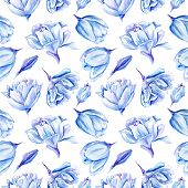 picture of indigo  - Seamless passion floral background with indigo flowers for bedroom textile and wallpaper design - JPG