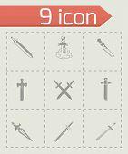 pic of crossed swords  - Vector Sword icon set on grey background - JPG