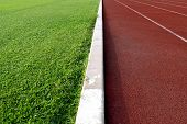 foto of track field  - white line between green grass football field and track runway - JPG