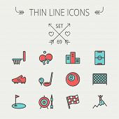 picture of ski boots  - Sports thin line icon set for web and mobile - JPG