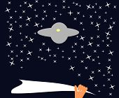 image of waving hands  - Hand with towel waving to extraterrestrial craft under starry sky - JPG