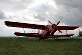 stock photo of firefighter  - Old red rescue biplane from firefighter team - JPG