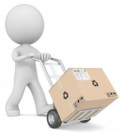 foto of hand-barrow  - The dude 3D character pushing Hand Truck with large Cardboard Box - JPG
