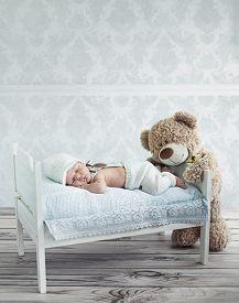 stock photo of sweet dreams  - Portrait of a little sweet newborn baby - JPG