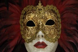 foto of venice carnival  - horizontal picture of a mask of Venice carnival - JPG