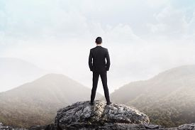 picture of high-rise  - Business man standing on the top of the mountain looking at the valley - JPG