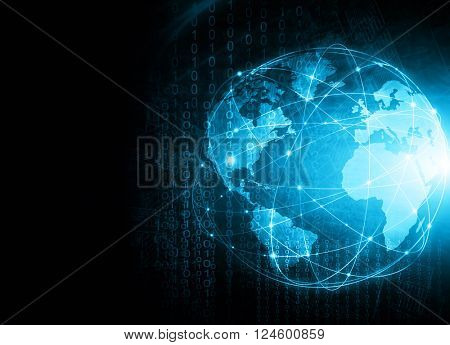Best Internet Concept of global business. Globe, glowing lines on technological background. Electron