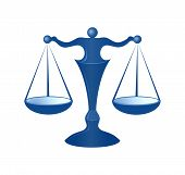 pic of scales justice  - blue justice scales on the white background - JPG