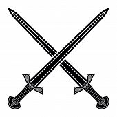 Постер, плакат: Two Crossed Gladius Sword Silhouette On White Background Medieval Weapons