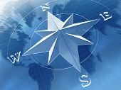 stock photo of compass rose  - compass rose on background of world map - JPG
