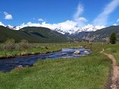 picture of rocky-mountains  - mountains and river in estes park colorado