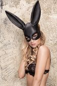 Sexy Blonde Girl In Lingerie And Black Mask. poster