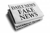 Daily news newspaper headline reading fake news concept for false event news headline poster