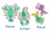 Set Of Three Zodiac Signs - Cancer, Scorpio, Pisces. Symbol Of Water. Cute Illustration Of Funny Ani poster