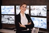Female security guard in surveillance room poster