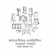 Hand Drawn Doodle Advertising Exhibition Banner Stands Set. Vector Illustration. Isolated Elements O poster