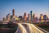 Houston, Texas, USA downtown city skyline and highway. poster