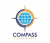 Vector Logo Design Illustration For Travel Tour Agency, Location Navigation Compass Adventure, Explo poster