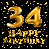 34 Years Anniversary With Gold Stylized Number And Confetti. Applicable For Brochure, Flyer, Posters poster