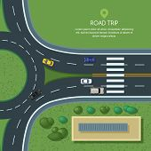 Vector Flat Illustration Of Roundabout Road Junction And City Transport. City Road, Cars, Crosswalk poster