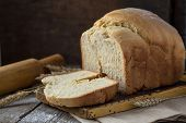 Постер, плакат: Bread Slice Bread White Bread On Wood Bread On Table Bread For Background Bread For Breakfast