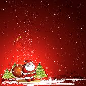 stock photo of santa claus hat  - christmas card with Santa Claus and snowflakes in the red sky vector illustration - JPG
