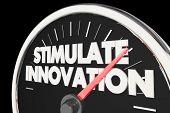 Stimulate Innovation Speedometer New Ideas Innovative Concepts 3d Illustration poster
