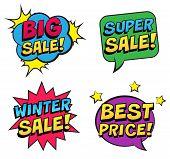 Stylish Colorful Retro Comic Speech Bubbles Set. Expression Text Big Sale, Best Price, Super Sale, W poster