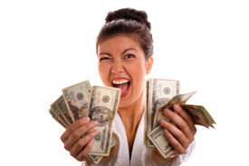 stock photo of holding money  - Excited Asian - JPG