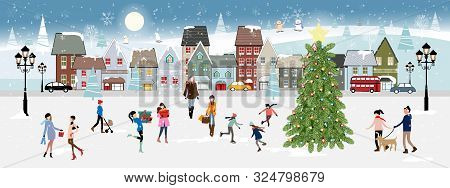 poster of Winter Landscape At Night With People Having Fun In The Park,vector Illustration. City Landscape On