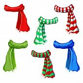 Winter Scarf Collection Isolated On White Background. Illustration Of Red, Green, Striped Scarfs. Wo poster