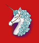 Cute Beautiful Unicorn Head. Profile View Of A Beautiful Graceful Unicorn With White Hair And Blue M poster