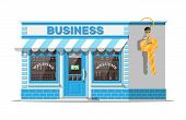 Shop Building Or Commercial Property With Key. Real Estate Business Promotional, Startup. Selling Or poster