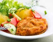 pic of wieners  - Wiener Schnitzel with Potatoes and Fresh Vegetables - JPG