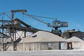 A Crane With Gravel In A Gravel Pit And Different Types Of Stone poster