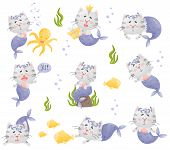 Set Of Images Of Cartoon Cat Mermaid. Vector Illustration On A White Background. poster