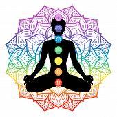 Seven Chakras On Meditating Yogi Man Silhouette, Vector Illustration poster
