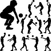 Volleyball Girl Player. Women Group Play Volleyball Silhouette poster